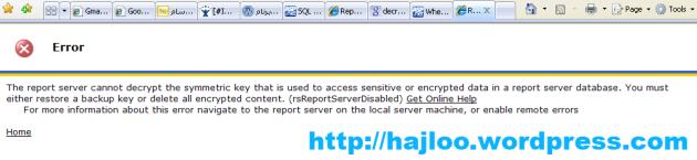 نمایش خطا در �ال باز کردن Report Server