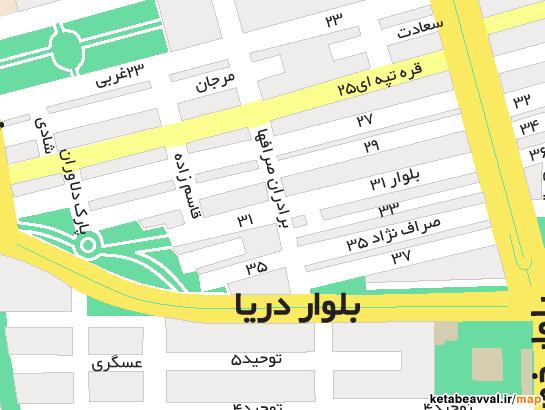 کروکی آدرس شرکت فراکنش در نقشه تهران کتاب اول