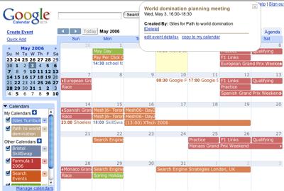نمایی از Google calendar