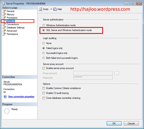 Activating Mixed Mode For SQl Serve 2008
