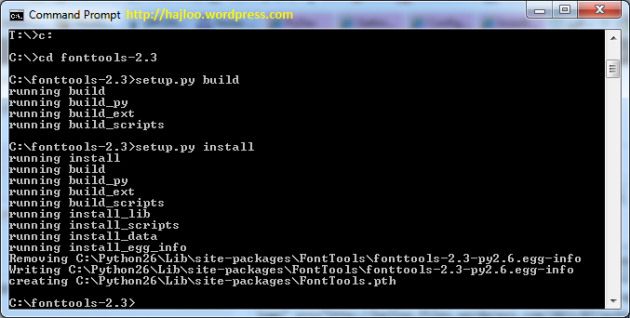 Installing FontTools with Command Prompt in Python