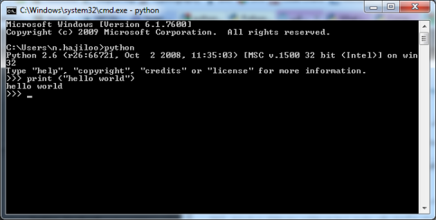 Python Hello World with Windows Command Prompt